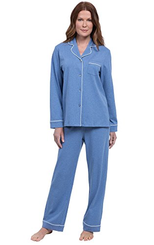 PajamaGram Women Pajamas So Soft - Button Up Pajamas for Women, Blue, XS, 2-4