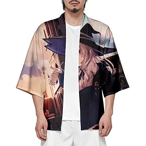 Witch's Journey Kimono Dibujos Animados Chal Hombre Mujer Cardigan Cover Ups Imprimir Abrigo Unisex Verano Tops Mezcla De Colores S