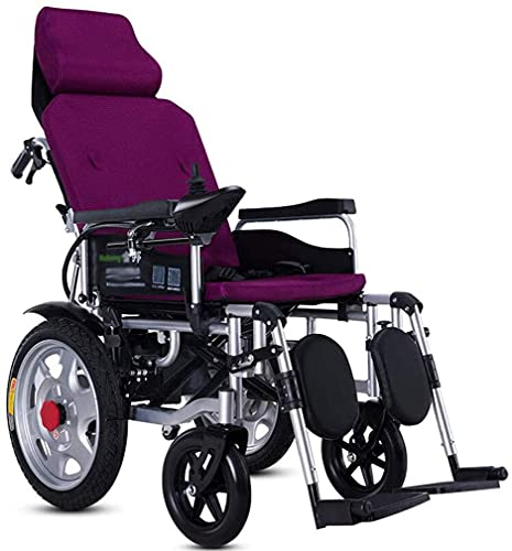 Silla de ruedas eléctrica con reposacabezas, tubo de acero grueso completo de la scooter de cuatro ruedas, silla de ruedas plegable ultraligero para ancianos y discapacitados,Púrpura