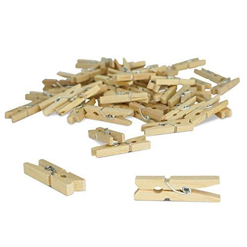 ZADAWERK Mini-Holzklammer - Natur - 3 cm - 100 Stück - Holzclips zum Halten von Fotos, Postkarten - Wäscheklammer zum Aufhängen - Dekoklammern - Deutsche Marke