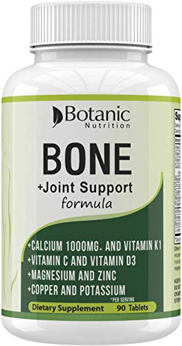 Bone Strength 1000mg Calcium Magnesium Zinc Potassium Supplement with Vitamins C, D3, K1 - Bone Vitamins for Men & Women - Best for Bone Support, Bone Growth and for Bone Health-90 Veg Tablets