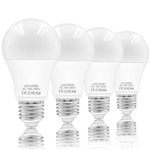 E27 LED Lampe, 9W Warmweiß 3000K A60 Birne Ersatz für 60 Watt Halogen Leuchtmittel 900 Lumen Glühbirne,Nicht dimmbar Classic Matt Glühlampe 4 Stück