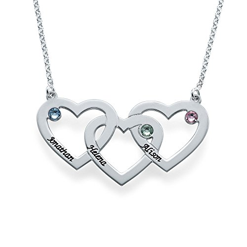 Swarovski Birthstones Engraved Intertwined Hearts Necklace - Personalized Jewelry Gift for Her