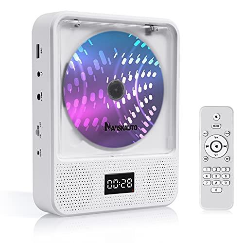 NAVISKAUTO Tragbarer CD Player Discman mit Bluetooth HiFi Lautsprecher 2500mAh Akku Portabler und Wandmontage CD Player USB 3,5mm Kopfhöreranschluss AUX IN