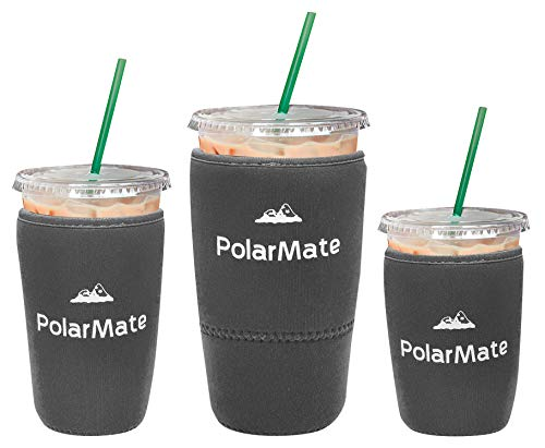 3 Pack Reusable Iced Coffee Sleeve   Insulator Cup Sleeve for Cold Drinks Beverages   Neoprene Cup Holder   Ideal for Starbucks, McDonalds, Dunkin Donuts & More (Gray)