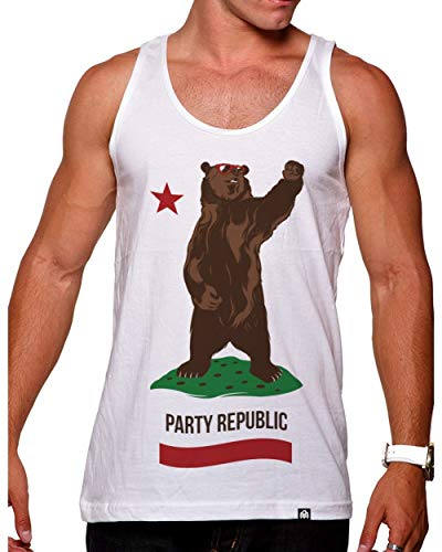 INTO THE AM California Party Republic Men's Graphic Tank Top Shirt (Large)