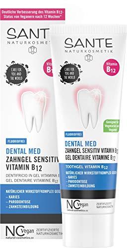 SANTE Naturkosmetik Dental med Zahngel Vitamin B12 ohne Natriumfluorid, Schützt Zähne & Zahnfleisch, Vegan, 75ml