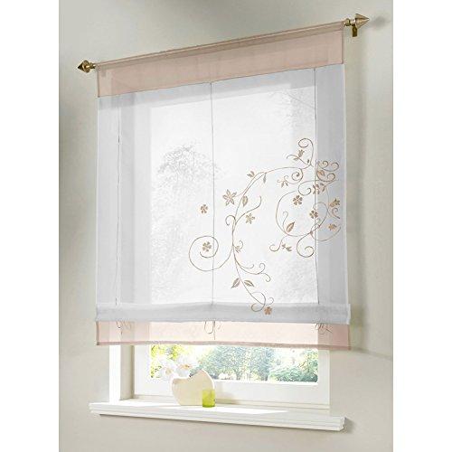 """Kou-Deco - Tenda a pacchetto in voile trasparente """"Raffrollo"""", con ricamo fiorito, per decorare finestre (confezione con 1 articolo), beige, 100x140cm"""