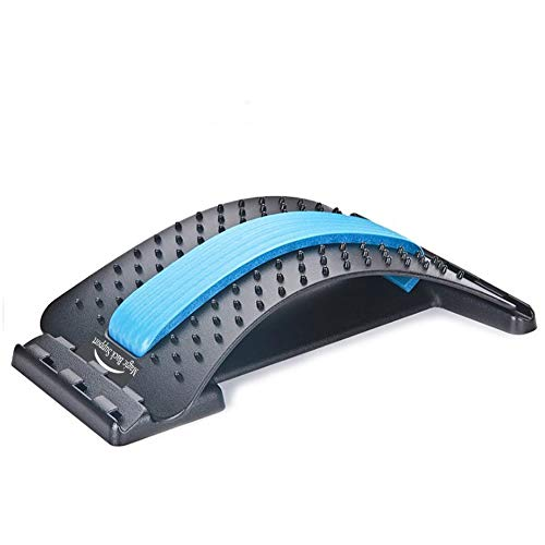 Back Stretching Device,Back Massager for Bed & Chair & Car,Multi-Level Lumbar Support Stretcher Spinal, Lower and Upper Muscle Pain Relief(Black/Blue)