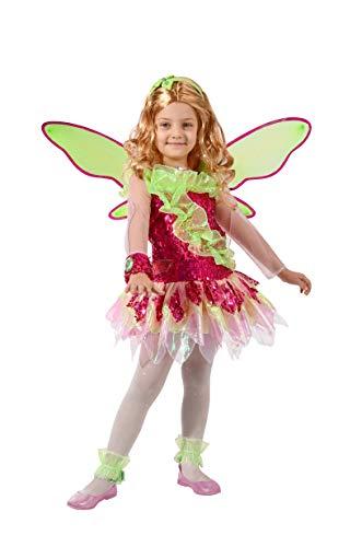 Ciao- Flora Tynix Costume trasformazione Winx Club Bambina, 7-9 Anni, Verde, Rosa, 11236.7-9