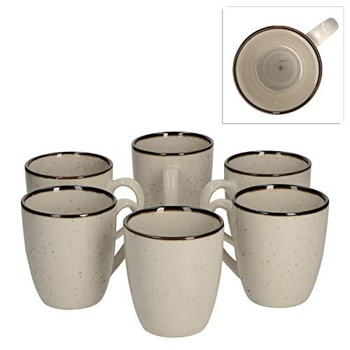 Van Well 6er Set Kaffeebecher Nova 380 ml I Strudeldekor grau I XL-Jumbotassen Tee-Pott I Tafel-Geschirrset I Gastro-Zubehör Brunch & Buffet