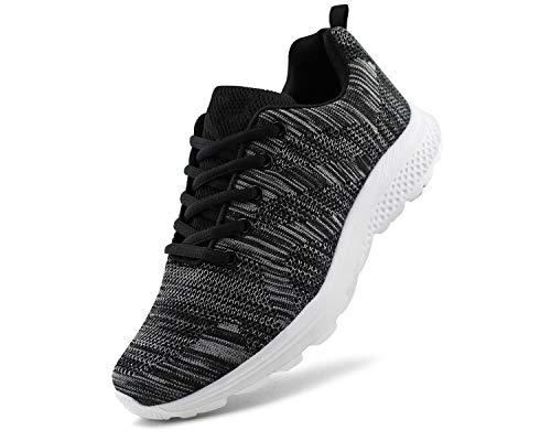 JABASIC Women's Breathable Knit Sports Running Shoes Casual Walking Sneaker (8 B(M) US, Black/White-1)