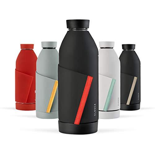 Closca Botella de Agua de Cristal 420ml Bottle. Cantimplora de Vidrio Libre de BPA. Doble Apertura y Solapa Elástica para fácil Transporte. (Black/Coral)
