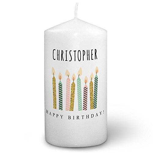 Kerze mit Namen Christopher - Fotokerze mit Design Happy Birthday - romantische Wachskerze, Taufkerze, Hochzeitskerze, Stumpenkerze