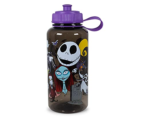 Silver Buffalo Disney's The Nightmare Before Christmas Water Bottle | BPA-Free Large Plastic Water Jug with Screw Top Lid | Hydration for Outdoor Sports, Gym, Yoga | Holds 34 Ounces
