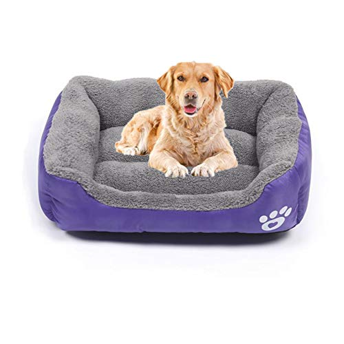 QIAO Dog Bed Super Soft Dog Beds Large Washable Orthopedic Dog beds Basket for Medium and Large Dogs, Non-slip Bottom Pet Beds Couch Cushion,Purple,L