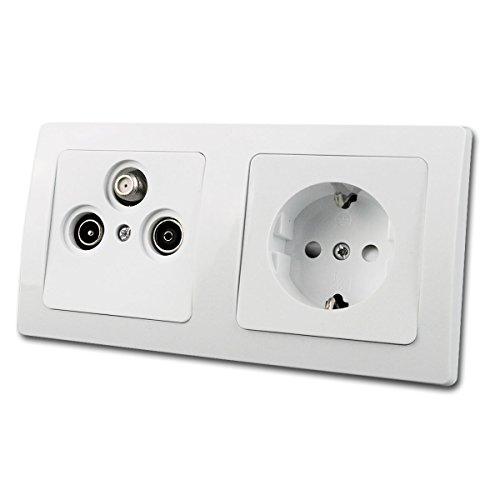 DELPHI Kombi Schuko-Steckkdose & Antennendose weiß