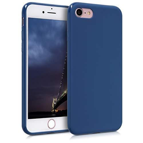 kwmobile Custodia Compatibile con Apple iPhone 7/8 / SE (2020) - Cover in Silicone TPU - Back Case per Smartphone - Protezione Gommata Blu Marino