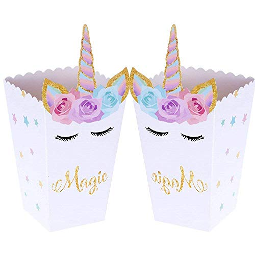 (Set of 12) JeVenis Magical Unicorn Party Favor Boxes Unicorn Party Popcorn Treat Boxes Candy Cookie Containers for Baby Shower or Birthday Party Favor Supplies Decorations