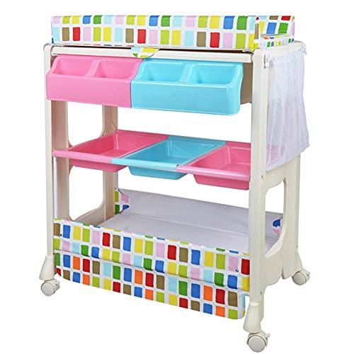 Table à Langer pour poupées bébé, Organisateur de Station de Couches au Sol pour puériculture avec Support de Rangement et Roues, Charge 50 kg