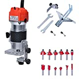 Gekufa Wood Router Laminate Trimmer Woodworking Slotting Carving Trimming Machine 110V 800W with 12 Pcs 1/4' Router Bits