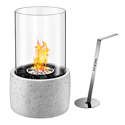 TACKLIFE Tabletop Fire Pit, Tabletop Fireplace with Glass Stone, Concrete Material and Windproof Glass Cover, Ethanol Fireplace for Valentine