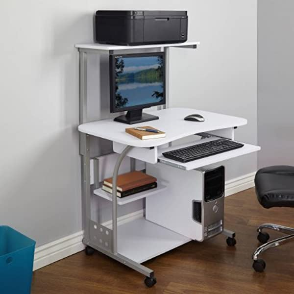 Generic 50163BLK Mobile Computer Tower With Shelf White Wood Composite Metal
