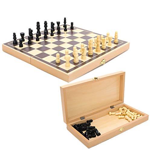 Schachspiel aus Holz, Handgefertigt Schach, Klappbar Schachbrett-Set für Haus, Reise - 30 x 30 cm