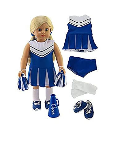 American Fashion World Blue Cheerleading Outfit with Accessories Made for 18 inch Dolls Such as American Girl Dolls