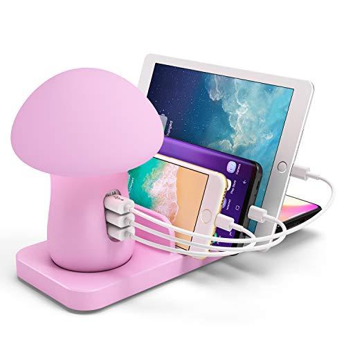 3 Port USB Fast laadstation QC 3.0 Quick Charge Dock Mushroom LED-lamp Draadloze oplader voor de Iphone Samsung Smart Phones Tab