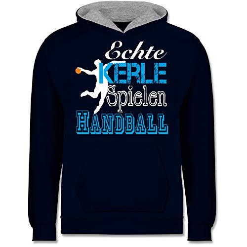Sport Kind - Echte Kerle Spielen Handball weiß - 152 (12/13 Jahre) - Navy Blau/Grau meliert - Kapuzenpulli Sport - JH003K - Kinder Kontrast Hoodie