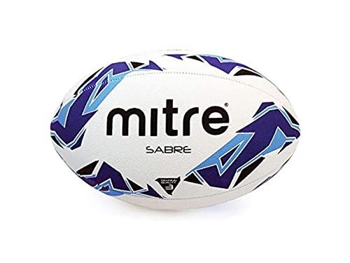 Mitre Mini Rugby-trainingsball Sabre, Weiß/Blau/Cyan, 3, BB1157
