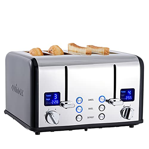 CUSIMAX 4 Slice Toaster, Ultra-Clear LED Display & Extra Wide Slots, Stainless Steel Toaster with Dual Control Panels of 6 Shade Settings, Cancel/Bagel/Defrost Function, Removable Crumb Trays, Black