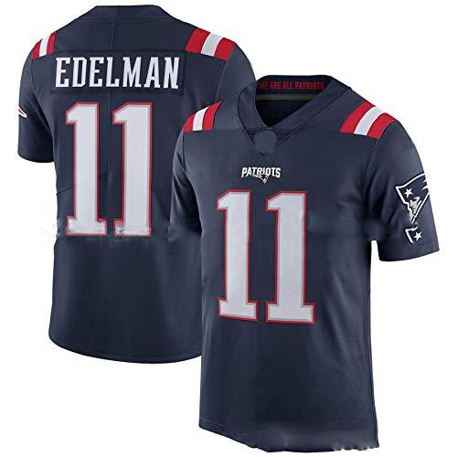 New England Patriots # 11 American Football Trikot, Julian Edelman 11# Rugby Jersey Stickerei Männer Frauen T-Shirt Schnelltrocknende atmungsaktive Kurzarm-Blue-M