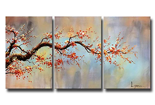 ARTLAND Modern 100% Hand Painted Flower Oil Painting on Canvas 'Orange Plum Blossom' 3-Piece Gallery-Wrapped Framed Wall Art Ready to Hang for Living Room for Wall Decor Home Decoration 24x48inches