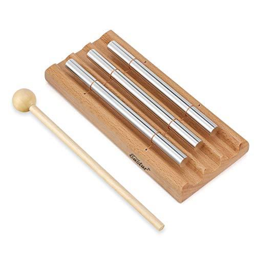 Timbre de meditación trío, Eastar 3 tonos de campana de yoga con 3 tonos para gestión de aulas con mazo y bolsa de tela instrumento de percusión para oración Energías orientales Mindfulness