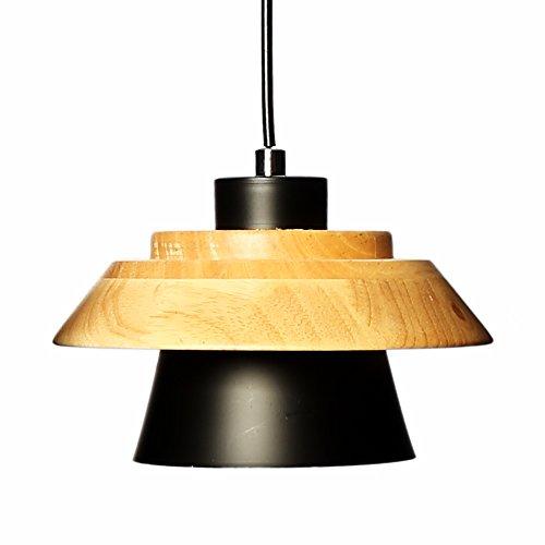 Houten Metall Hanglamp Paddestoel Vorm Lampenkap Industriële Moderne Landelijke Stijl Voor Woonkamer Restaurant Cafe Bar Woondecoratie E27 Base (Blsck)