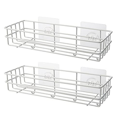 LAZY CAT Estante de almacenamiento de 2 unidades, soporte de esponja de hierro, organizador de ducha de cocina, estante de baño con ganchos, soporte de pared autoadhesivo (color blanco)