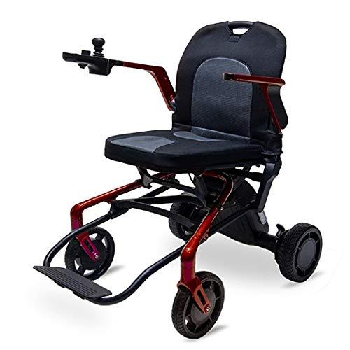 JINKEBIN Electric Silla de Ruedas 17 kg de aleación de magnesio Marco eléctrico para sillas de Ruedas portátil Plegable de Scooter eléctrico (Color : Wine Red)