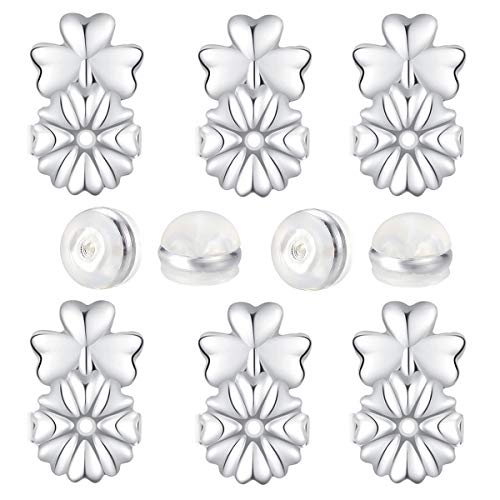 Fomissky Earring Backs for Droopy Ears, Clear Earring Backs Rubber, 5 Pairs Secure Earing Backs Replacements Magic Earring Lifters As Seen On TV