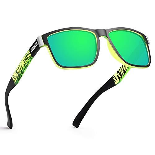 GRFISIA Vintage Polarized Sunglasses for Men and Women Driving Sun glasses 100% UV Protection (black green frame-green mirror) Nebraska