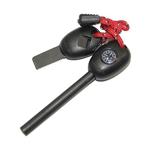 Universal incl iniciador de fuego. Compás + ligero + Scraper + silbato + regla + cable rojo / negro Firestarter iniciador de fuego pedernal pedernal de magnesio encendedor de acero fuego del PRECORN marca