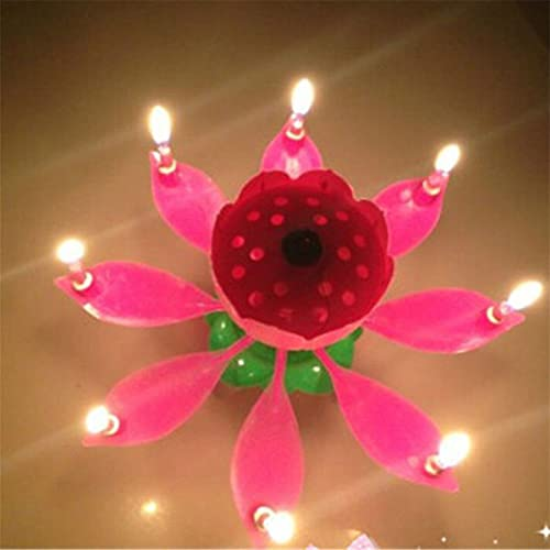 candle Innovative Party Cake Candle Musical Lotus Flower Rotating Happybirthday Candle Light Party Gift DIY Cake Decoration Birthday party candles