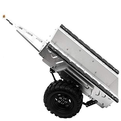 DAUERHAFT A Prueba de abrasión 1/10 Trail Metal RC 1/10 Remolque con Dos neumáticos de Goma para Coche RC 1/10(Silver)