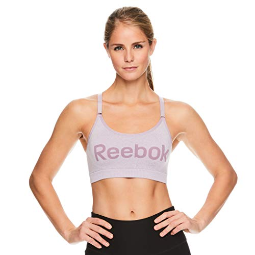 Reebok Women's Wireless Racerback Sports Bra - Medium Impact Seamless Workout Bralette - Relay Graphic Sea Fog Heather Purple, X-Small