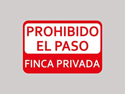 Oedim Pack 10 Señal de Prohibido el Paso Finca Privada   30x20cm   Finca Privada, Coto Privado, Caza Activa   Señaletica en Material Aluminio Blanco Resistente de 3mm   Duradera y Económica