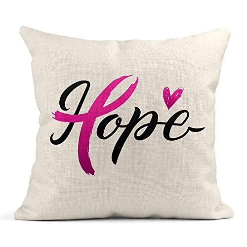 Wurfs-Kissen-Hoffnungs-Brustkrebs-Bewusstseins-Anschlag-Rosa-Band Oktober ist das Monats-Herz, das Leinen-Kissen-Ausgangsdekoratives Kissen SAGT