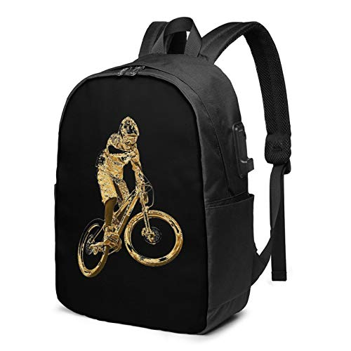 Gold Downhill Mountain Bike Laptop Backpack with USB Charging Port, Business Bag, Bookbag | Fits Most 17 Inch Laptops and Tablets