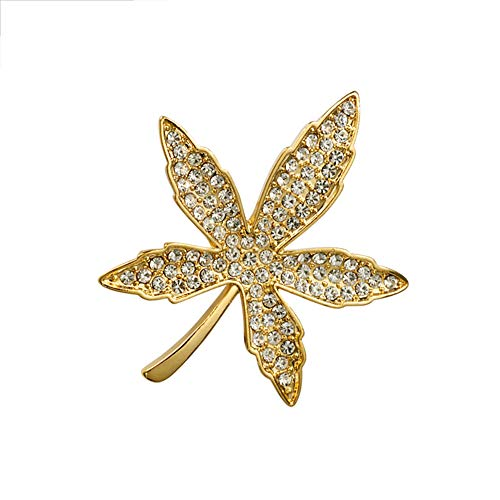 Maple Leaf Broche Pins Crystal Maple Leaf corsage voor Vrouwen Mannen Gold/Silver