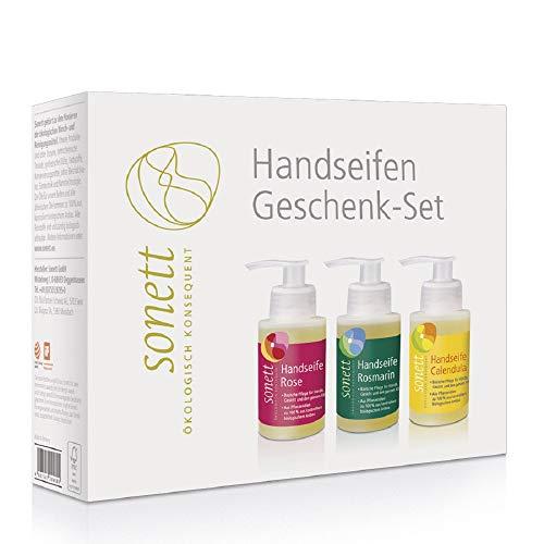 sonett Handseifen-Geschenkset Calendula - Rosmarin - Rose, 3 x 110 ml